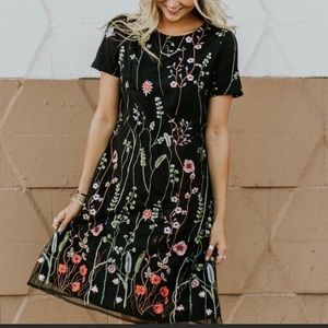 Black embroidered Roolee dress